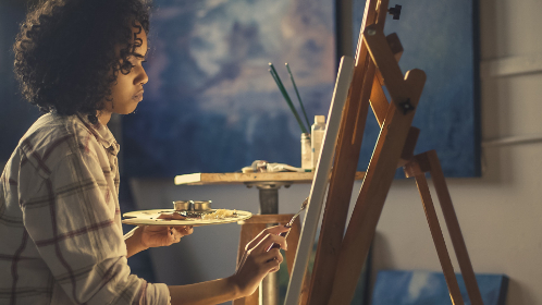 woman,   artist,   painter,   crafts,   paint,   brush,   art,   beautiful,   drawing,   leisure,   painting,   person,   recreation,   female,   girl,   easel,   color