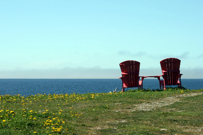 chairs,  water,  view,  adirondack ,  ocean,  sea,  pair,  wooden,  grass,  shore,  coast,  outdoors,  sky,  horizon