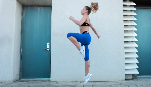 sport,  warm-up,  woman,  lycra,  jump,  jog,  run,  white wall,  door,  fit,  fitness,  healthy