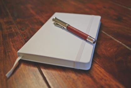 white, notebook, pen, write, diary, wooden, table