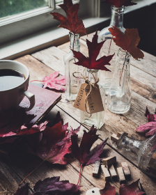 rustic,  table,  autumn,  leaves,  glass,  jars,  coffee,  cup,  decor,  decoration,  arrangement,  indoors,  wooden,  mug,  design,  diy,  crafts,  fall