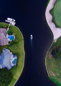 aerial, ship, yacht, green, grass, nature, trees, architecture, house, home, structure, building, pool