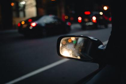 side mirror, car, vehicle, road, trip, travel, dark, bokeh, light