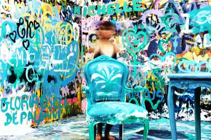 chair, table, people, girl, wall, art, graffiti, mural, painting, paint, lettering, public