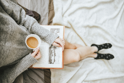 girl,  young,  coffee,  cup,  morning,  woman,  female,  relax,  person,  people,  lady,  alone,  	breakfast,  sunday, book, reading, bed, sheets
