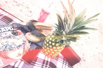 pineapple, dessert, appetizer, fruit, juice, crop, outdoor, camping, sand, beach, slippers, magazine, phone, iphone, cellphone, shades