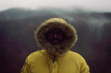 people, man, guy, beard, winter, cold, fur, hood, jacket, yellow