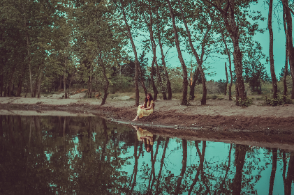 sad, woman, outdoors, sitting, water, trees, nature, female, person, dress, gloomy, moody, reflection