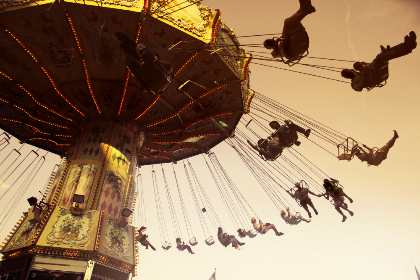 fun,   carousel,   carnival,   chairs,   daylight,   lights,   outdoors,   people,   theme park