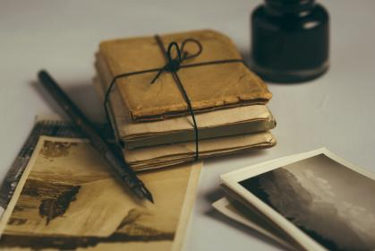 pictures, photos, vintage, pen, ink, package, objects