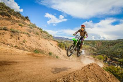 crafts, hobby, dirt, bike, motocross, jump, motorbike, soil, slope, mountains, grass, sky, clouds, horizon, biker, rider