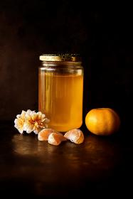 food, honey, orange, jar, flowers, reflection, styling, orange, photography
