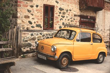 yellow, car, vintage, city, town, village, house, home