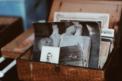 art, vintage, photos, pictures, photography, black and white, box, memories, memoirs, brown, sepia