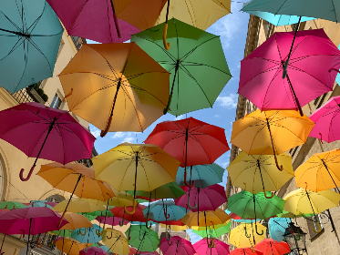 colored,  umbrellas,  street,  color,  sky,  colorful,  floating,  bright,  pattern,  outside,  multicolored, art, creative
