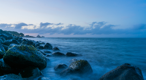 blue, ocean, coast, sea, shore, rocks, waves, sky, clouds, pastel, scenery, beautiful, climate, environment, weather, nature, outdoors, oceanscape, travel