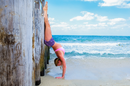 woman,  handstand,  beach,  ocean,  sea,  girl,  female,  sport,  healthy,  fitness,  wave,  surf,  blue sky