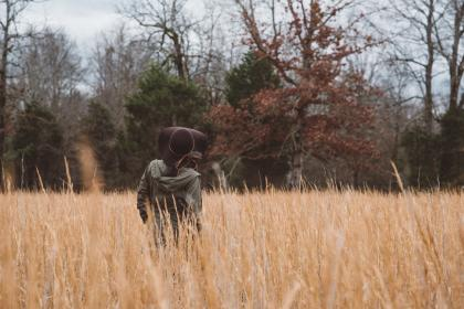 grass, back, trees, girl, woman, clouds, forest, hat, adventure, travel, trip, fashion, nature