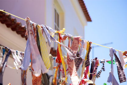 fabric,  party,  sky,  blue,  house,  hanging, cloth, clothes line, home, laundry, drying, bandanas, sunshine