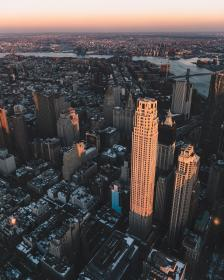 urban, city, establishment, building, structure, infrastructure, tower, clouds, sky, aerial, sunset, sky