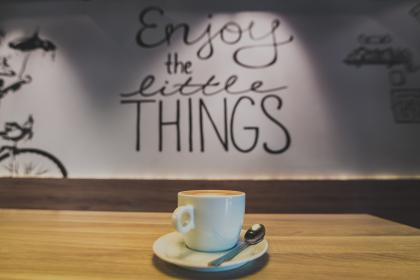 cafe, coffee, latte, cappuccino, table, wall, words, letters