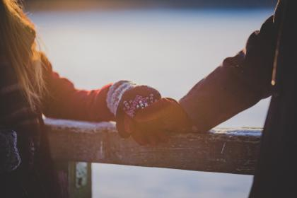 people, man, woman, couple, love, affection, holding hands, gloves