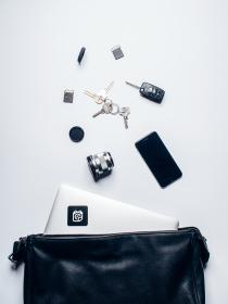 leather, bag, laptop, computer, technology, iphone, mobile, lens, keys, sd card, objects, white