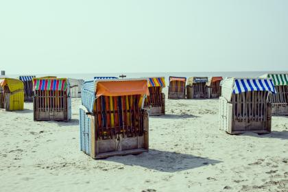 nature, landscape, beach, shore, sand, water, ocean, sea, boxes, cots, colors, stripes, patterns, art