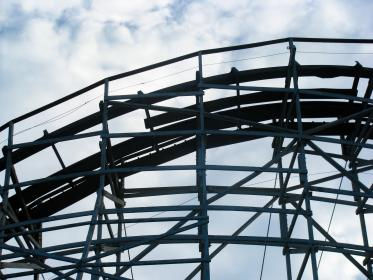 wood, rollercoaster, ride, fun, amusement park, sky