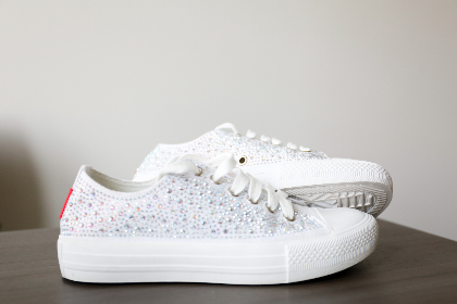 sneakers,  shoes,  close up,  pair,  fashion,  rhinestone,  footwear,  casual,  sneaker,  laces,  white,  minimal,  objects