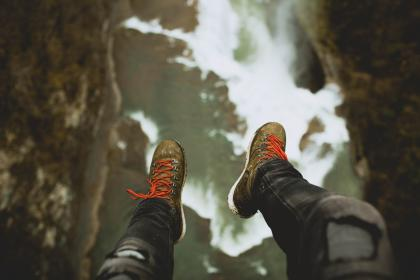 nature, water, stream, people, man, guy, edge, shoes, millennials