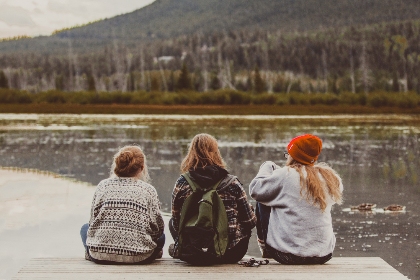 people,  adult,  winter,  wear,  cold,  woman,  landscape,  one,  water,  travel,  daylight,  outdoors,  lake,  group,  women,  friends,  friendship,  dock,  fall,  talking,  chatting