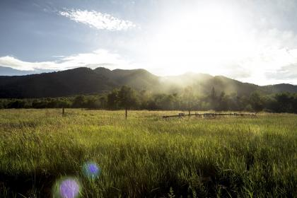 green, grass, rural, countryside, field, trees, mountains, landscape, nature, sun rays, sunshine, sky, clouds