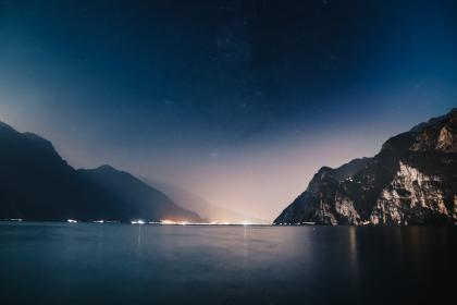 sea, ocean, water, wave, nature, night, dark, blue, sky, mountain, hill, landscape, lights, horizon, nature, outdoor