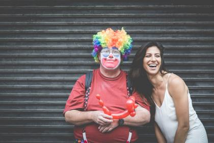 people, friends, couple, smiles, happy, clown, balloons, man, woman