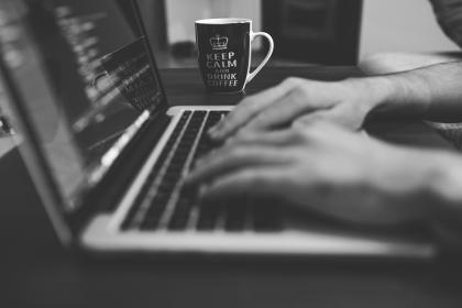 typing, working, macbook, laptop, computer, technology, business, office, desk, coffee, cup, mug, keep calm, black and white
