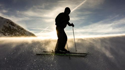 snow, winter, skiing, people, man, adventure, sports, outdoor, cloud, sky, silhouette