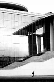 buildings, structure, architecture, design, stairs, lines, glass, window, people, man, guy, walking, black and white, grayscale, monochrome