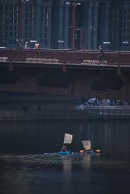 architecture, building, infrastructure, bridge, city, river, water, people, walking, sailing, boat, paddle
