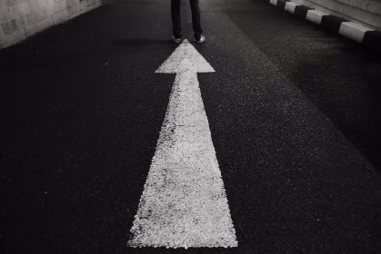 street,  feet,  leg,  arrow,  direction,  night,  standing, asphalt, pointing, up, road, lane, roadway