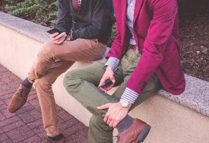 guy, man, men, people, clothes, clothing, fashion, blazer, pants, shoes, friends, texting, mobile, smartphone, sitting, sidewalk