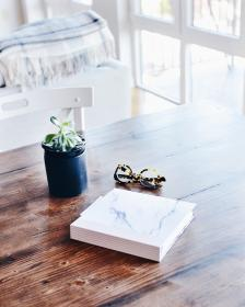 wooden, table, book, eyewear, eyeglasses, green, plant, interior, chair, living, room