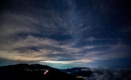 dark, blue, sky, night, mountains, landscape, clouds, cloudy, peak, view, light, valley, nature, outdoor