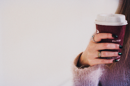 woman,  holding,  coffee,  cup,  paper,  takeaway,  female,  girl,  hand,  nails,  white,  background,  wallpaper