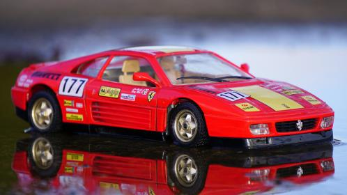 crafts, hobby, miniature, cars, still, items, things, toys, model, scale, table, reflection, ferrari, red, race, bokeh