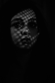 woman, face, shadow, dark, gloomy, spooky, scary, portrait, moody, bw, black and white, contrast, monochrome, person, female, alone