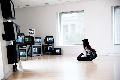 woman,  watching,  television,  multiple,  old,  ctr,  minimal,  house,  home,  wood,  wall,  white,  window,  tv,  mount