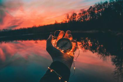 hand, light, compass, dark, nature, trees, sky, clouds, reflection, water, lake