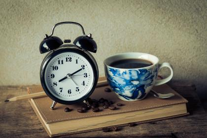 vintage, alarm, clock, book, pencil, coffee, drink, espresso, beans, seeds, time