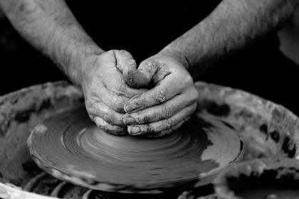 crafts, hobby, pottery, clay, wheel, guy, man, people, hands, create